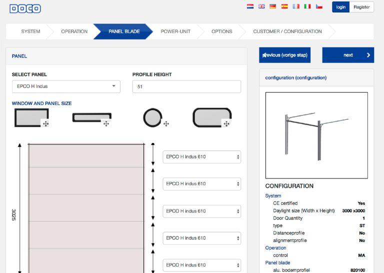 Screenshot van de ontwikkelde deurconfigurator #2