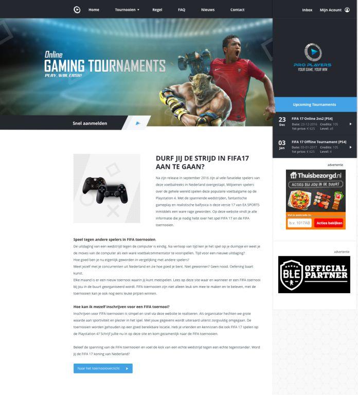 Screenshot van de homepagina